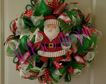 CLEARANCE WAS 52!! Christmas Wreath with Santa