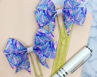 Bow Planner Clip and Bookmark Pink Blue Green Feather print decal Ribbon Page Marker Accessory Gift Kawaii