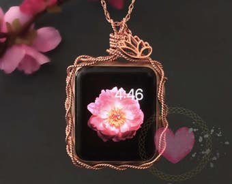 Rose Gold 38mm Apple Watch Necklace-Eco Friendly 14k Rose Gold Apple Watch Jewelry Rose Gold 38mm Apple Watch Pendant Apple Watch 38mm