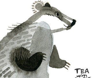 Sweet Badger Print, Woodland Creatures Wall Art, Watercolour Giclee Home Decor Childrens Artwork Illustration
