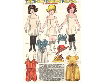 Printable Paper Dolls Angel Family Penny Ross Fashion Parade Series 4 Instant Digital Download 1920s Newspaper Reproduction