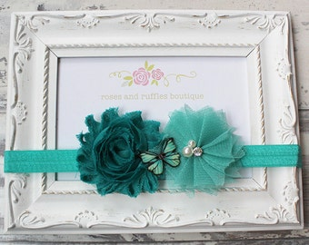 Teal Butterfly Baby Headband, Baby Girl Headband, Newborn Headband, Flower Girl Headband, Baby Photo Prop, Toddler Headband, Infant Headband