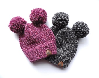 PICK YOUR COLOR - Double Pom Pom Knitted Hat, Children's Knitted Hat, Double Pom Pom Baby Hat