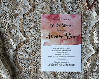 Customized Printable Bridal Shower | Hand-Painted Watercolor Invitation