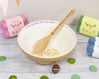 Baking Gift Set, Personalised Bakeware, Baking Bowl Personalised, Wooden Baking Spoon