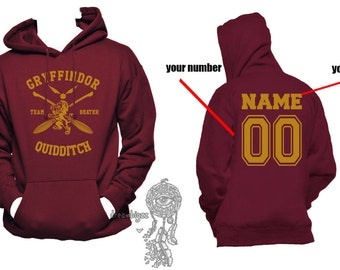 BEATER - Custom back, Gryffin Quidditch team Beater Yellow print printed on Maroon Hoodie