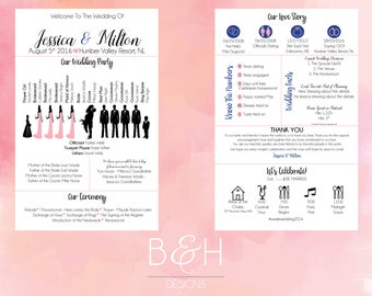 Printable Custom Info Graphic Wedding Program Digital Download Infographic Wedding Program Silhouette Wedding Printable Wedding Program