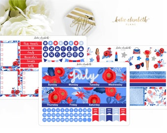EC July Blue Red & White Monthly Kit || Planner Stickers