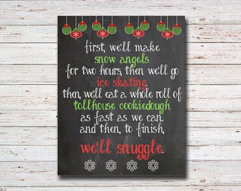 Elf Quote Printable Chalkboard Sign, Cute Christmas Decor, Snuggle, Elf Quote, Printable Christmas Art, INSTANT DOWNLOAD FILE