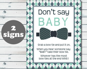 Don't Say Baby Bow Tie Baby Shower Game Sign, Bow Tie Don't Say Baby Printable Sign, Bow Tie Clothes Pin Game, Little Man Baby Shower Game