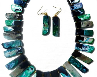 "Stylish Huge Rare Green Striped AGATE STICK Cleopatra's Style Statement 20"" Necklace with Matching Earrings Jewelry Set"
