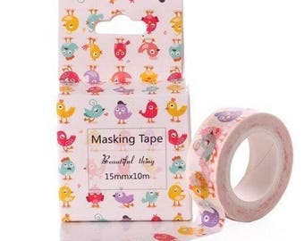 Cute Bright Birds Washi Tape Decor Masking Tape 10m