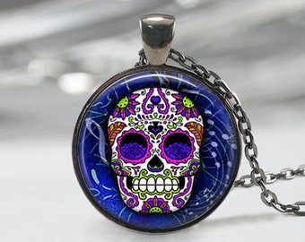 Sugar Skull Necklace Sugar Skull jewelry Sugar Skull Keychain Keyfob Day of the Dead jewelry Dia de los Muertos jewelry Gothic Necklace