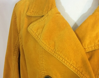 Mossimo Mustard Peacoat Jacket Coat Corduroy Cord Womens sz XXL Lined Button by Dorila Clothes
