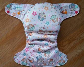 Cupcakes cloth diaper - AIO cloth diaper - one size cloth diaper - hemp bamboo diaper - wahm diaper - 1st birthday diaper - birthday photo