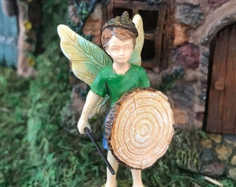 Miniature Boy Fairy with a Wood Shield
