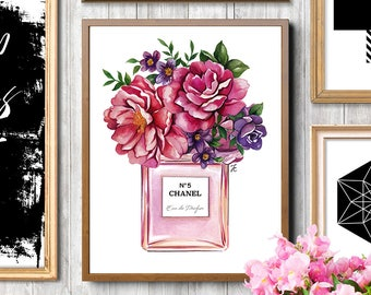 Chanel perfume, Flowers painting, Chanel flowers, Chanel artwork, Chanel print, Fashion illustration, Fashion sketch, Fashion print, Chanel
