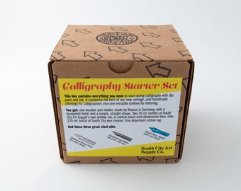Calligraphy starter set with handmade ink, dip pen nibs, & dip pen holder