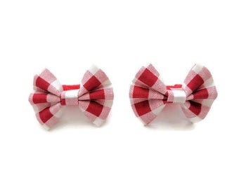 SALE // Red gingham plaid checkered bows for bunnies, rabbit accessories and clothing