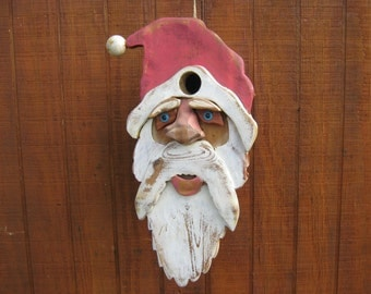 Christmas Birdhouse Rustic Santa Red Cedar Christmas Decoration