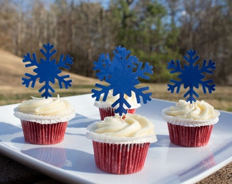 Blue Snowflake Cupcake Toppers (12ct), Paper Snowflakes, Winter Wonderland, Snowflake Food topper, Food Pick, Snow Themed