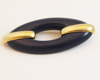 Vintage Blue and goldtone Brooch Nautical, Navy Blue - B53