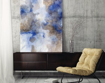 "Large abstract painting, canvas art print, abstract art, wall art canvas, giclee print blue brown ""Highlandia 4"""