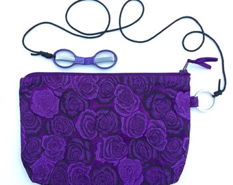 HiyaHiya Accessory Case Kit, SlipNSnip Scissors Purple Needlepoint SlipNSnip Scissors tied to Purple Brocade Knitters Notion Bag 2 Piece Kit