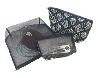 Della Q Mesh Cotton Zip Collection 1123-1 Della Q Mesh & Cotton Zip Bags, Della Q Mesh Nesting Bags, 3PC Set Mesh Bags, Della Q Mesh Zip Set