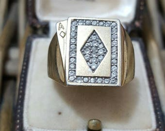 Vintage solid silver men's signet ring, gold plated, ace of diamond, size r1/2