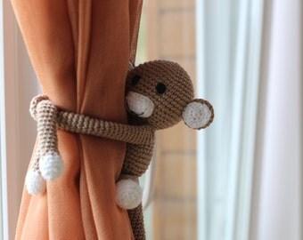 Monkey curtain tie back, crochet monkey, curtain tie back, tie back, monkey amigurumi, crochet amigurumi, baby shower, home decor, amigurumi