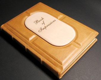 Book of impressions, Impressions book, Guest book, Leather blank book, Leather book of impressions