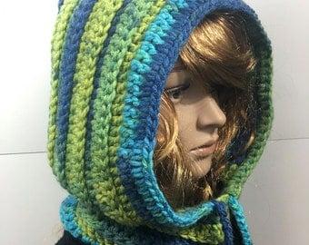 Knit Hood, Hooded Scarf, Crochet Cowl, Hood Scarf,  Crochet Hood Scarf, Knit Cowl  Color : Sunny Day