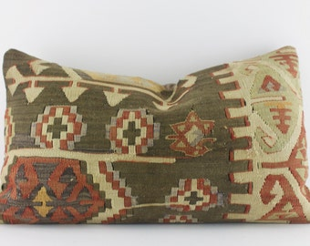 decorative lumbar pillow kilim sofa pillow 12x20