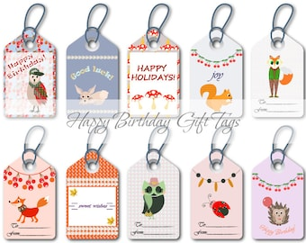 Happy birthday tags Colorful gift tags Printable gift wrapping labels Summer candy colors Gift tags download Collection of cute gift tags