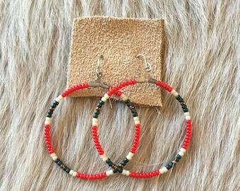 Hand-Beaded Southwestern Hoop Earring
