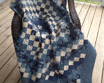 """Trip Around the World Quilted Throw - Blues and creams, 60""""x60"""""""