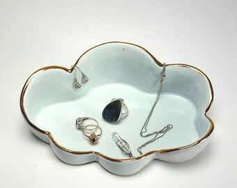 Jewelry dish, ring dish, ring holder,  jewelry holder,  Cloud Dish,  gold,  gold dish, porcelain