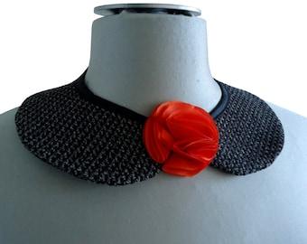 Collar removable claudine ninna tweed tassel orange
