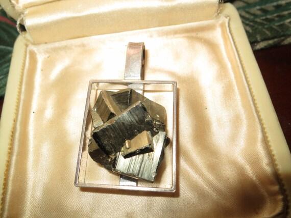 Vintage handcrafted German sterling silver pyrite modernist pendant