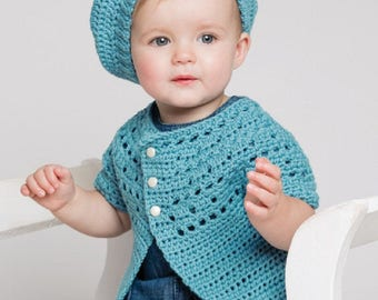 Baby Belle Beret and Cardigan Crochet Pattern only Woolly5 Yarn