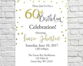 Elegant Birthday Invites, 40th, 50th, 60th Invitations, Gold Foil Invite, Adult Birthday, Mens Birthday Invitations, Womens Birthday
