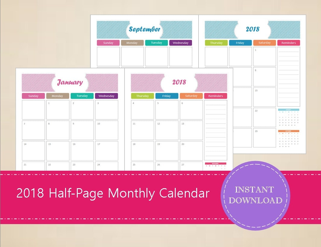Monthly Calendar Half Page : Half page monthly calendars printable and editable
