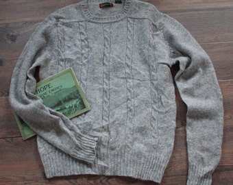 Vintage Sweater // Grey Cable Knit Wool Pullover Sweater // Ski Sweater