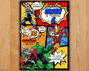 Avengers Invitation - Avengers Invite - Avengers Birthday Invite - Avengers Birthday Party Printable - Ironman Hulk Thor Captain America