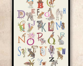 Alphabet Poster - ABC Wall Art - Animal Alphabet Nursery Art - ABC Nursery Decor - abc Print - ABC Animals - Kids room Decor - Childrens Art