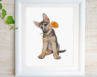 Dog Art Print Dog Nursery Decor Dog Watercolor Painting Pet Portrait Best Friend Gift Doggy Doggie Puppy German Shepherd Dog Lovers Gift Cub