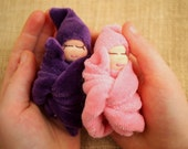 Twin baby dolls tiny baby doll twin girls twin dolls Waldorf baby dolls Gift for twins baby shower newborn twins pink and purple