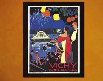 FINE ART REPRODUCTION Vichy Print Vintage Tourism Travel Print Advertising Retro     (243688475)