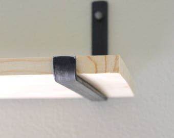 Industrial Shelving Brackets - J Style,  Flat Bar Steel Shelf Supports, Rustic Metal Bracket for Floating Wood Shelves